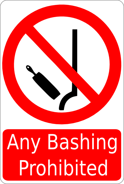 free vector Bashing Prohibited Sign clip art
