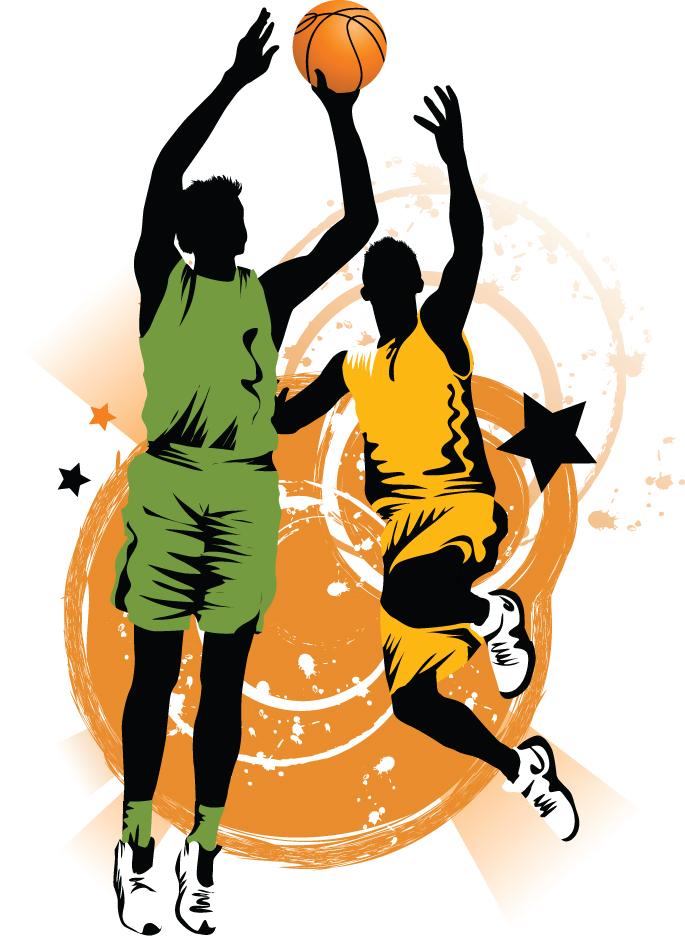 basketball silhouette vector free vector 4vector