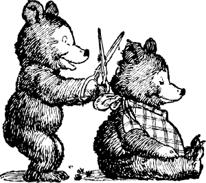 free vector Bear Gets Haircut clip art