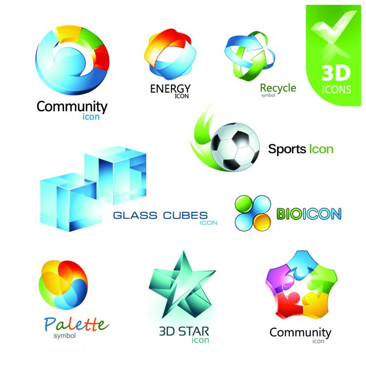 free vector Beautiful 3d icon vector