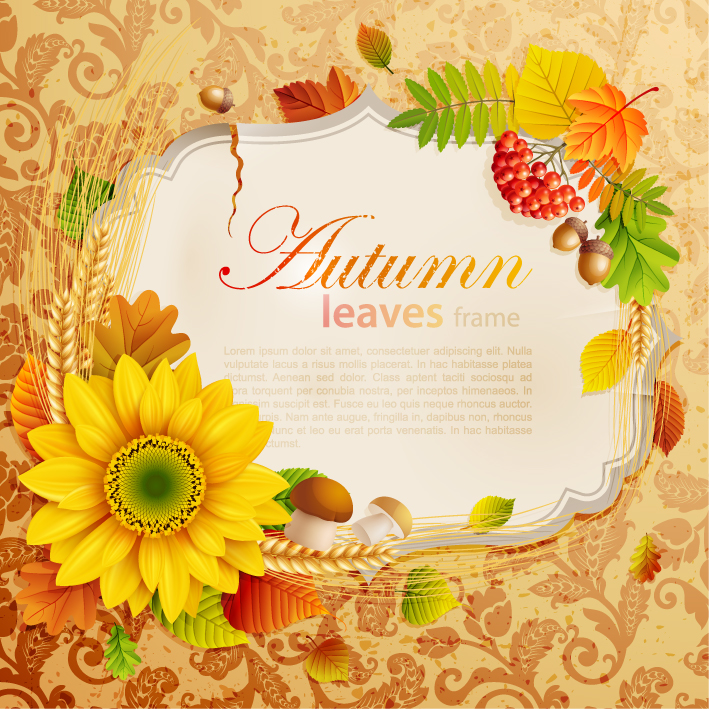 free vector Beautiful autumn leaves frame background 04 vector