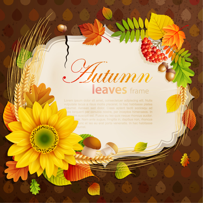 free vector Beautiful autumn leaves frame background 06 vector