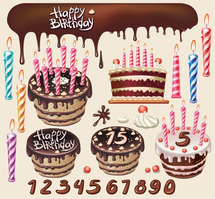 free vector Beautiful birthday cake theme vector