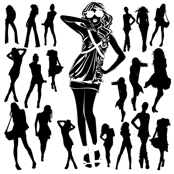 free vector Beautiful black and white silhouette 01 vector