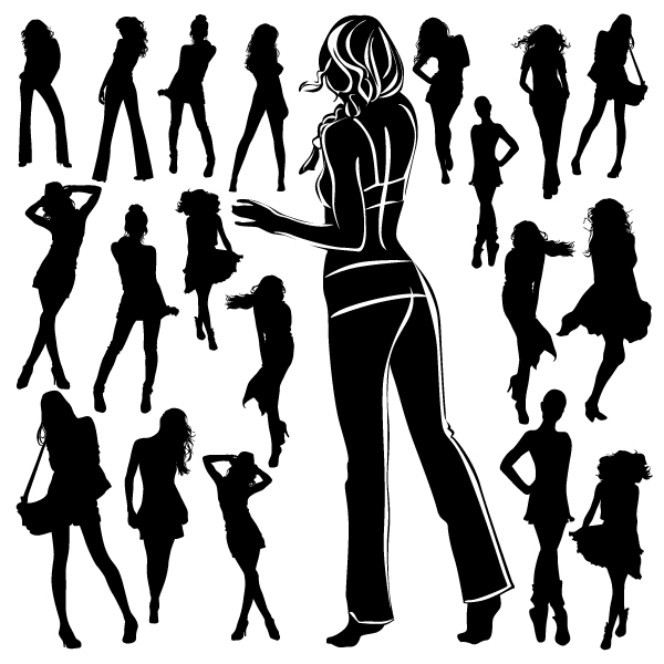 free vector Beautiful black and white silhouette 02 vector 26774