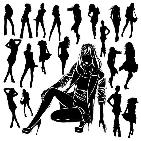 free vector Beautiful black and white silhouette 04 vector 26776