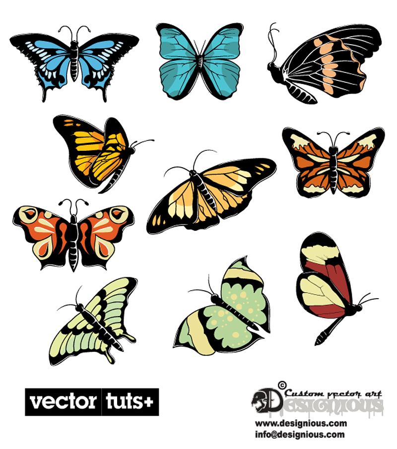 free vector Beautiful butterflies vector