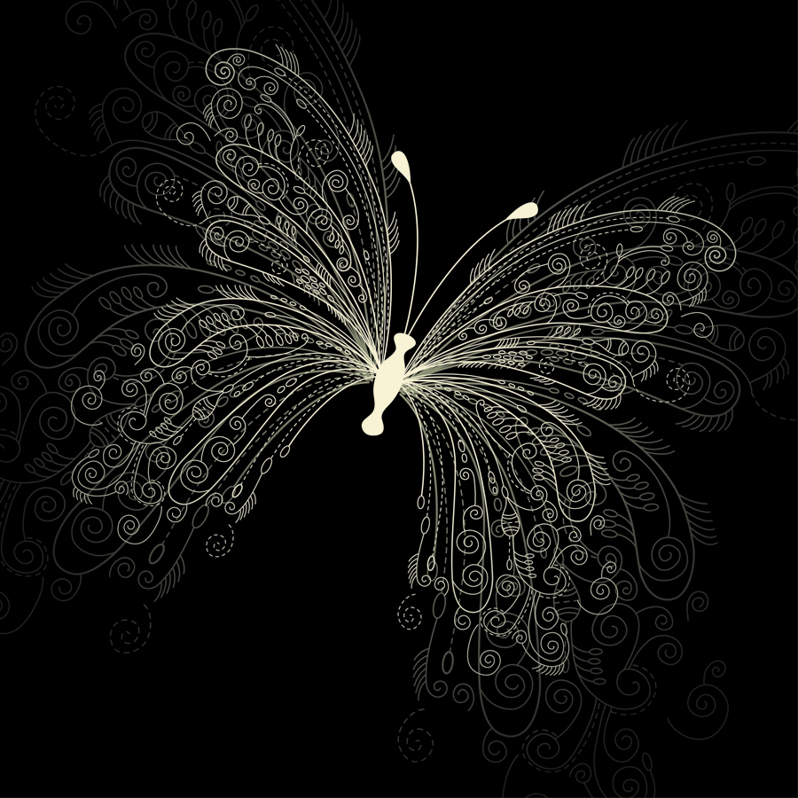 free vector Beautiful butterfly pattern 01 vector