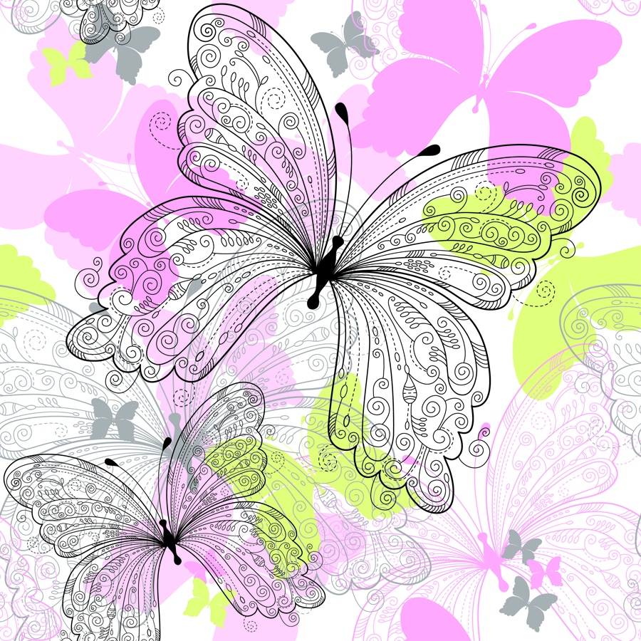 free vector Beautiful butterfly pattern 02 vector
