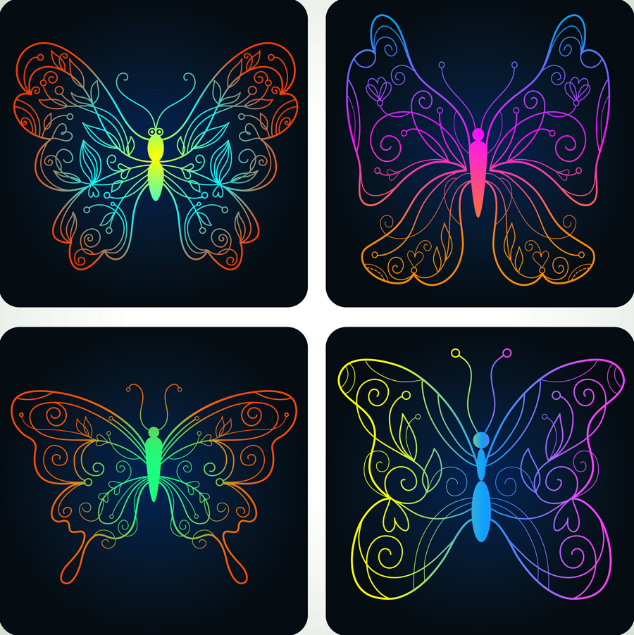 free vector Beautiful butterfly pattern 04 vector