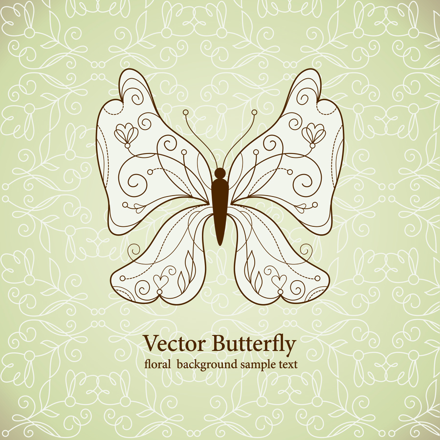 free vector Beautiful butterfly pattern 05 vector