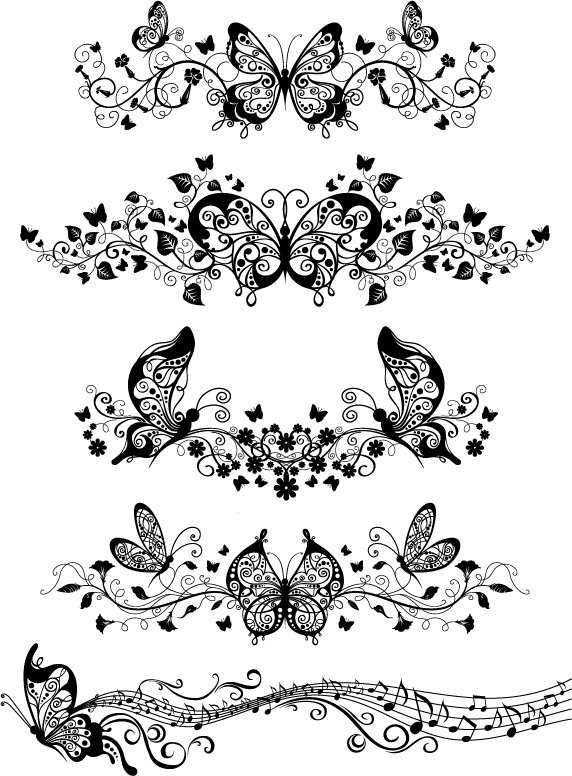 free vector Beautiful butterfly pattern vector material