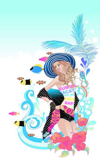 free vector Beautiful cartoon fashion crush 05 vector