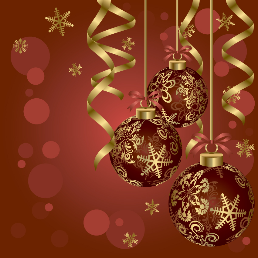free vector Beautiful christmas ball 01 vector