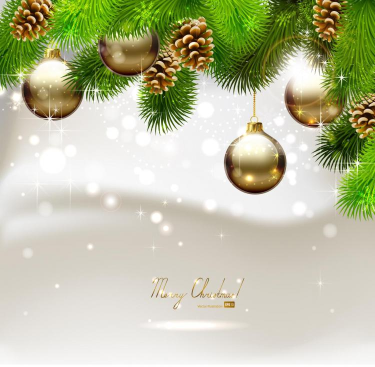 Beautiful christmas ball background 03 vector Free Vector / 4Vector