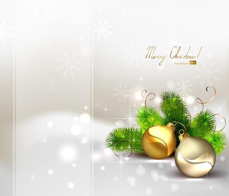 Beautiful christmas ball background 04 vector Free Vector / 4Vector