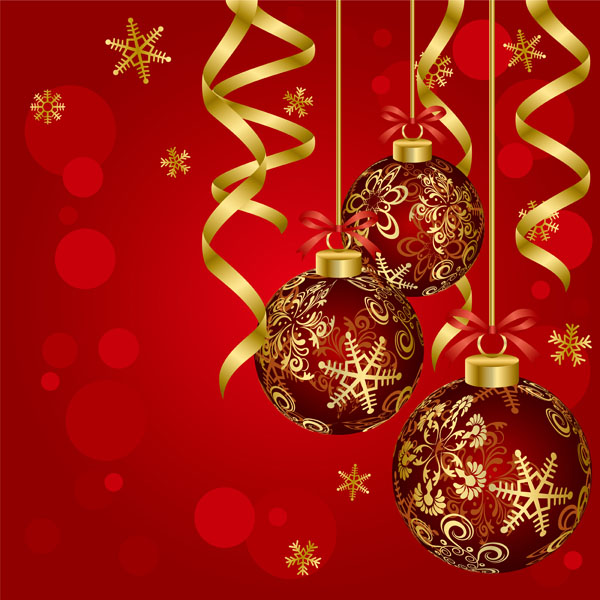 Beautiful christmas ball background vector Free Vector / 4Vector