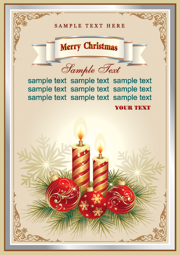 Beautiful christmas cards vector Free Vector 4Vector – Christmas Cards Sample