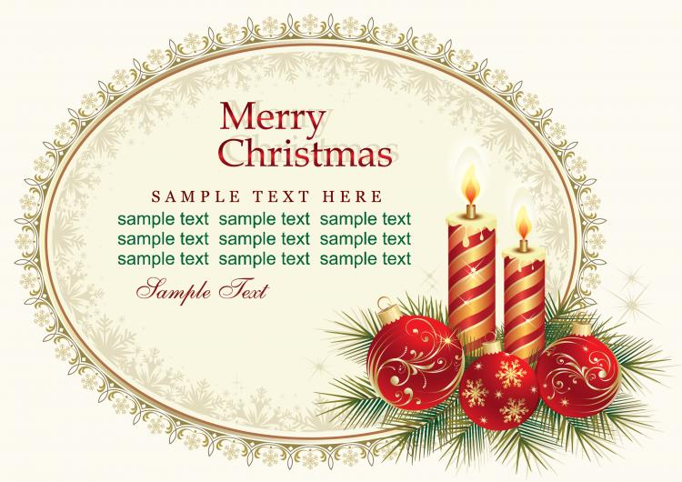 Beautiful Christmas Cards Vector Free Vector