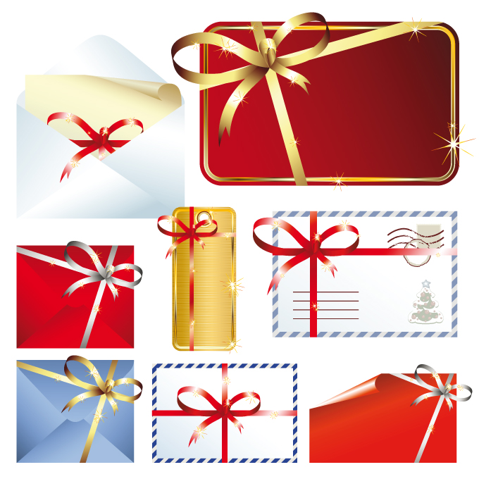 Beautiful christmas cards with envelopes vector Free Vector / 4Vector