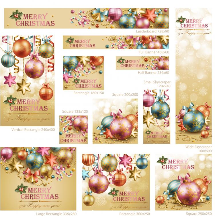 free vector Beautiful christmas decoration elements 02 vector
