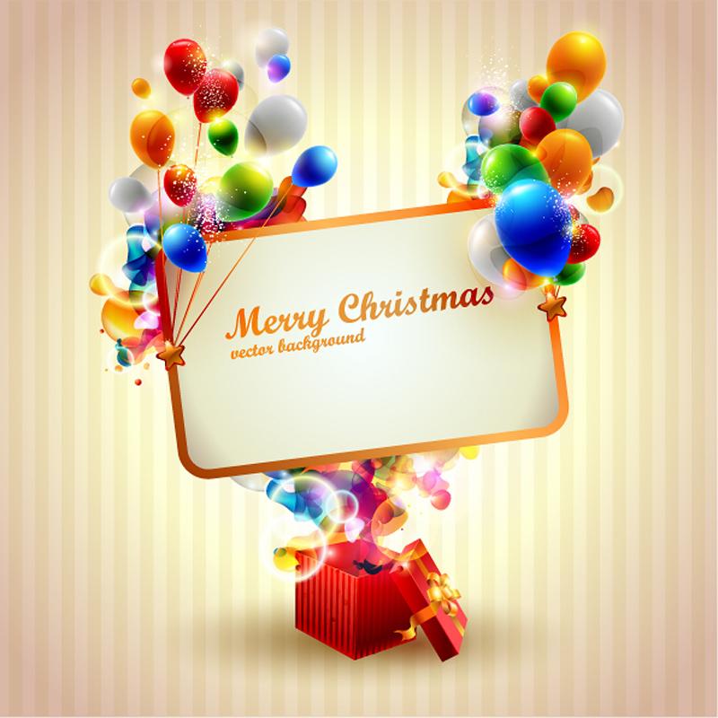 free vector Beautiful christmas gift box 04 vector