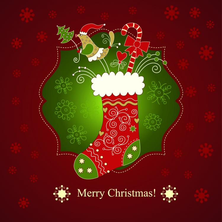 free vector Beautiful christmas greeting card 01 vector