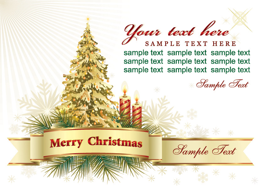 Beautiful christmas greeting card background vector Free Vector – Sample of Christmas Greetings