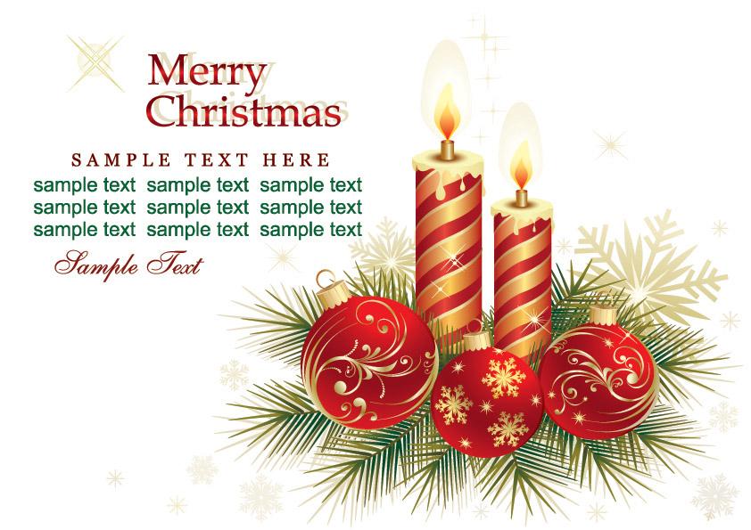 free vector beautiful christmas greeting card background vector - Beautiful Christmas Cards