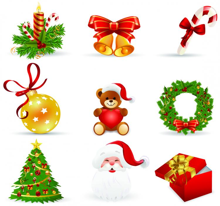 Beautiful christmas icons vector Free Vector / 4Vector