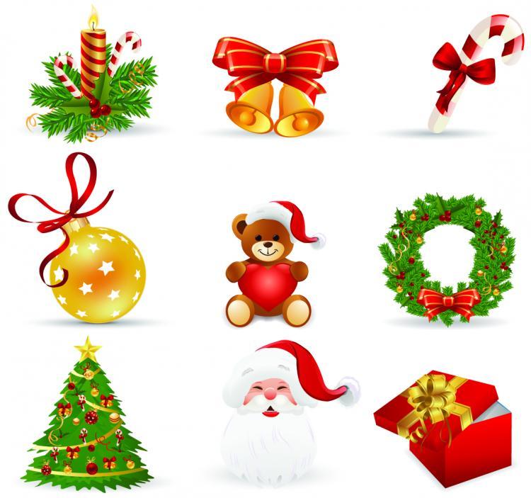 Beautiful christmas icons vector free vector 4vector - Decorar postales de navidad ...
