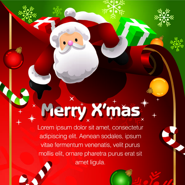free vector Beautiful christmas ornaments and background vector