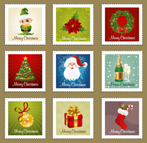 beautiful christmas ornaments stamp vector free vector - Beautiful Christmas Ornaments