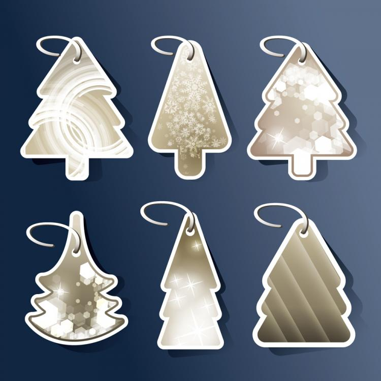 free vector Beautiful christmas tree tag 02 vector