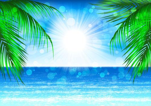 free vector Beautiful coastal scenery vector