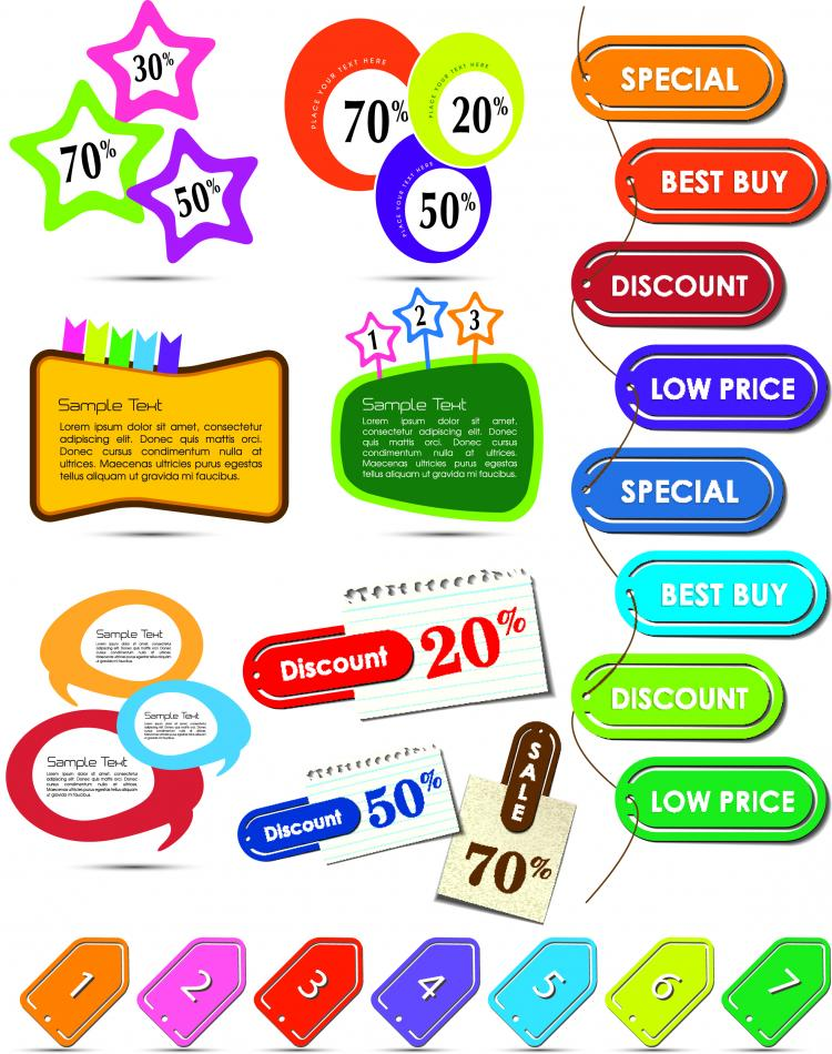 free vector Beautiful color labels 01 vector