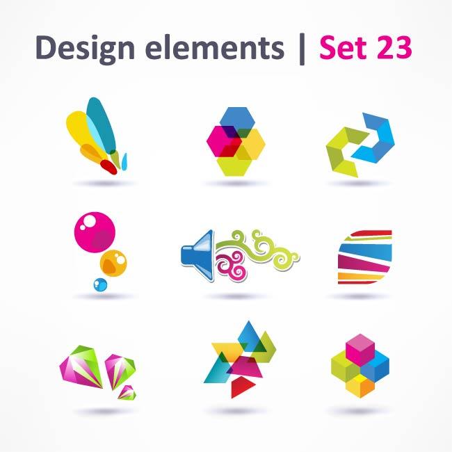 free vector Beautiful color threedimensional logo 05 vector