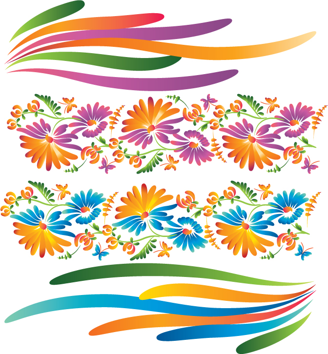 free vector Beautiful decorative flowers vector