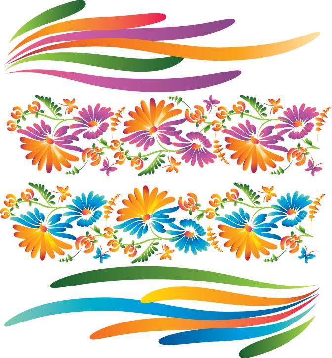 free vector Beautiful decorative flowers vector