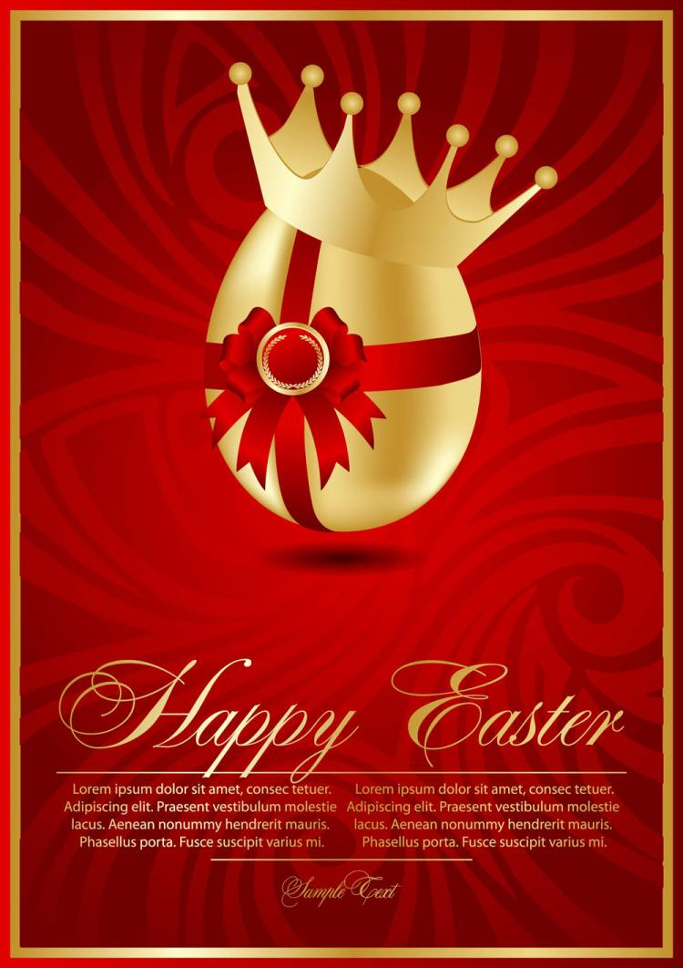 free vector Beautiful easter cards 02 vector