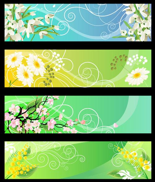 free vector Beautiful flower banner 01 vector
