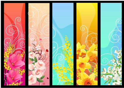 free vector Beautiful flower banner 02 vector