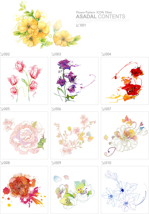 free vector Beautiful flower pattern style 01 vector