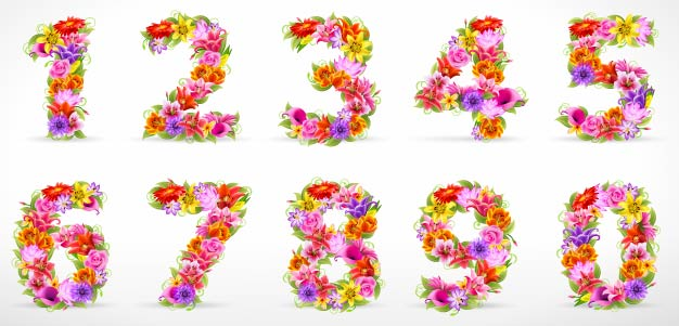 free vector Beautiful flowers and figures 01 vector
