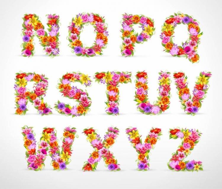 free vector Beautiful flowers and letters 01 vector