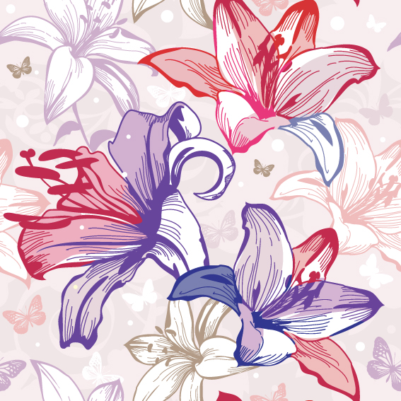 free vector Beautiful flowers and patterns 02 vector