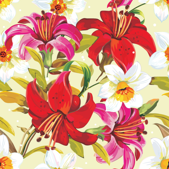 free vector Beautiful flowers and patterns 03 vector