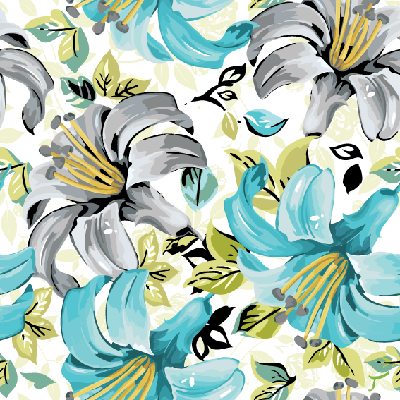 free vector Beautiful flowers and patterns 05 vector