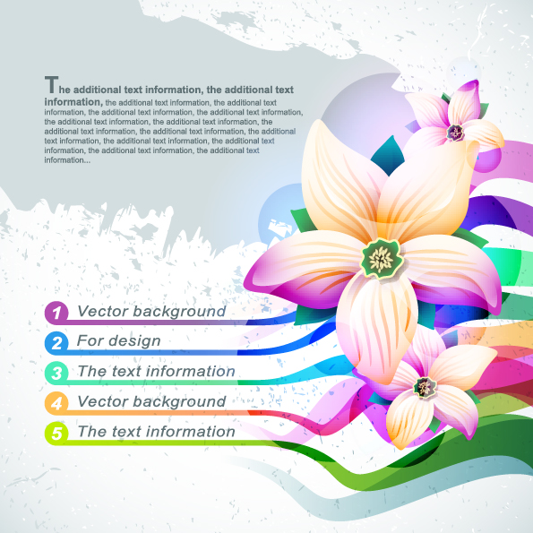 free vector Beautiful flowers shading background 02 vector