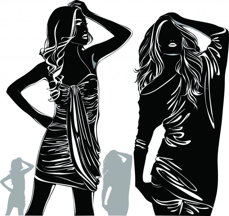 free vector Beautiful girl black and white silhouette vector